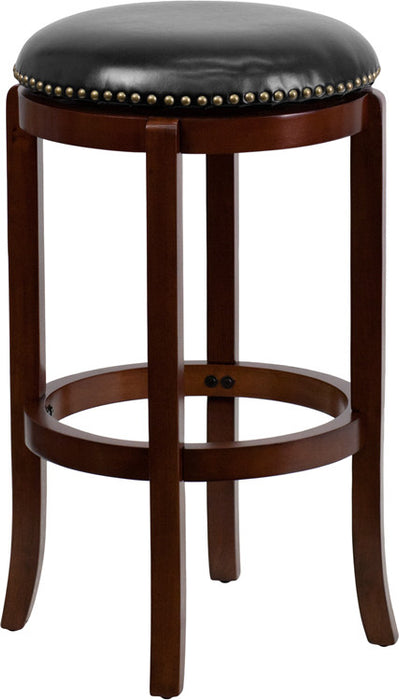 Halston Swivel Bar Stool with Leather Cushion and Cherry Finish | Man Cave Authority | TA-68929-CHY-GG