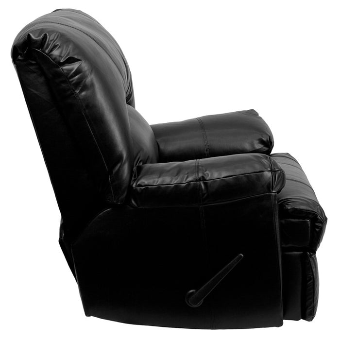 Apache LeatherSoft Rocker Recliner with Handle Recline (BLK, BRN) | Man Cave Authority | WM-8500-371-GG