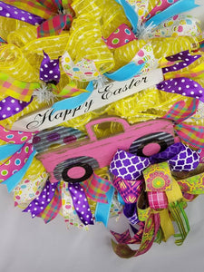 Happy Easter Wreath, Easter Truck Wreath