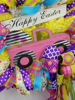 Load image into Gallery viewer, Happy Easter Wreath, Easter Truck Wreath