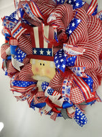 Load image into Gallery viewer, Uncle Sam Wreath, Americana Decor, Patriotic, Summer