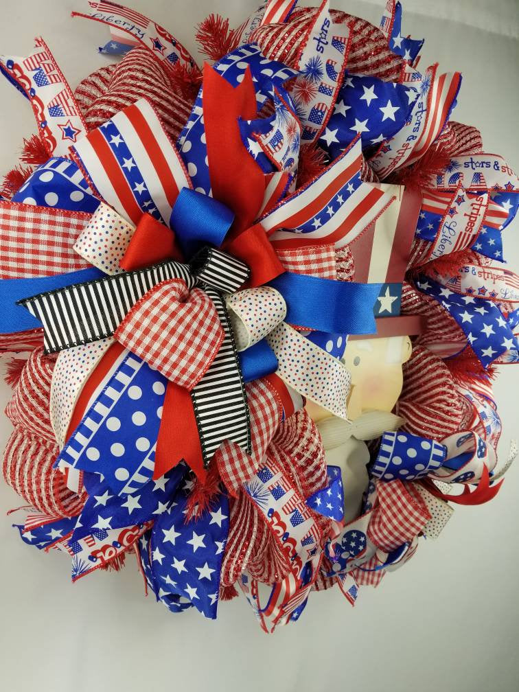 Uncle Sam Wreath, Americana Decor, Patriotic, Summer