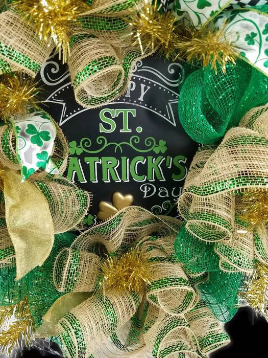 St Patty's Day Wreath, St Patrick's Day Decor, Celtic Wreath, Irish Decor, Lucky Clover Wreath, Spring Decor, Front Door Wreath, Lucky Decor