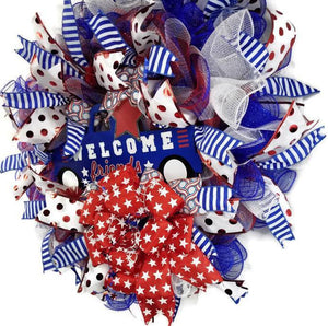 Patriotic Decor, 4th of July Wreath, Summer
