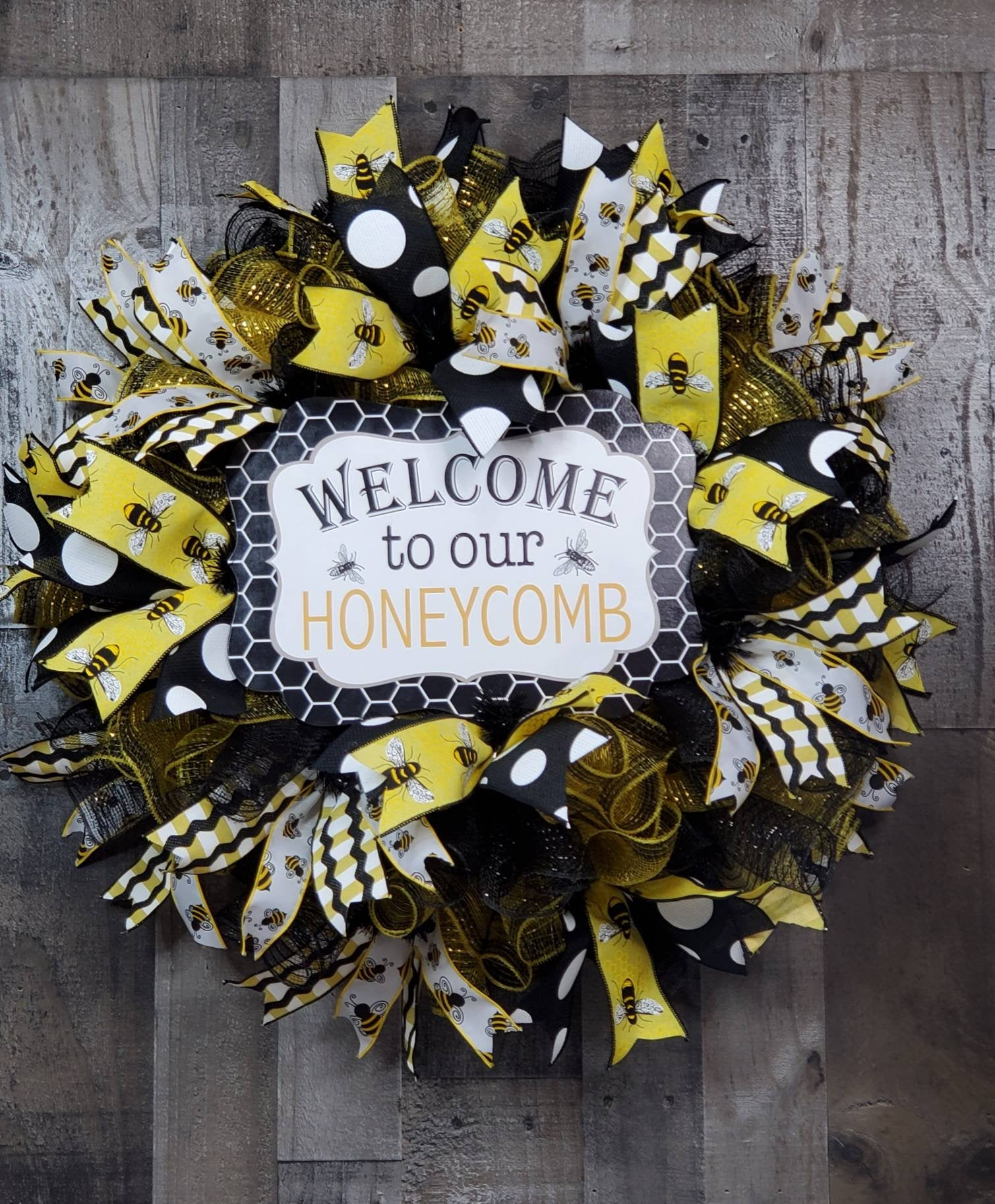 Welcome Wreath, Welcome Bee Wreath, Summer, Door Decor