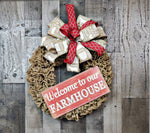 Load image into Gallery viewer, Farmhouse Burlap Wreath, Farmhouse Wreath