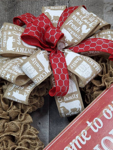 Farmhouse Burlap Wreath, Farmhouse Wreath