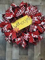 Load image into Gallery viewer, Welcome Ladybug Wreath, Welcome Wreath, Summer, Door Decor