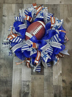 Load image into Gallery viewer, Football Wreath, Cowboys Wreath, NFL Ribbon Wreath, NFL Wreath, Sport Fan Wreath, Sport Wreath, Football Season Wreath, Door Decor