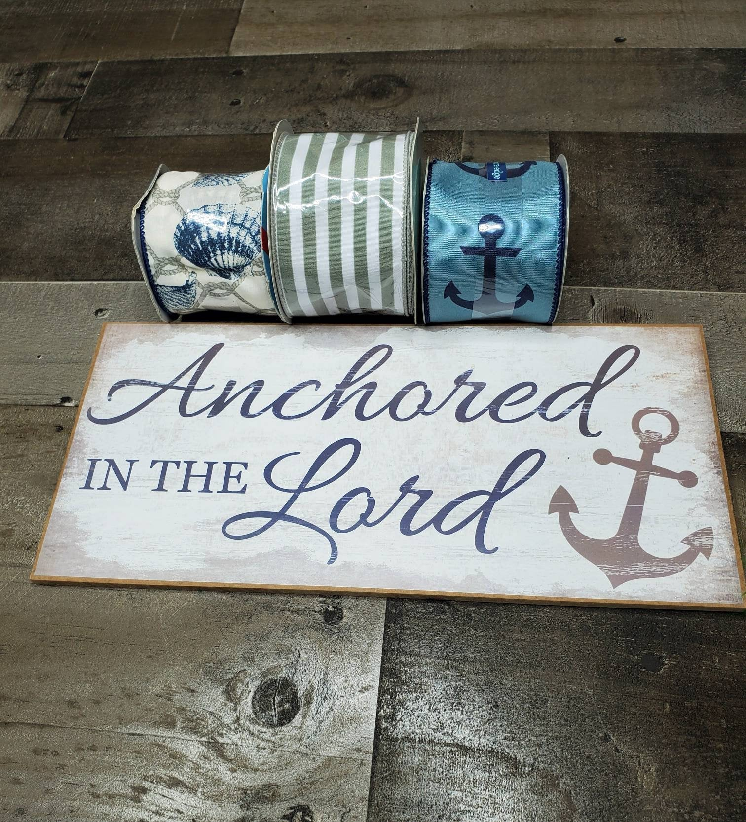 Anchored In The Lord Sign and Ribbon Kit, Wreath Kit Supply, Religious