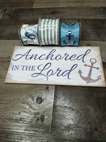 Load image into Gallery viewer, Anchored In The Lord Sign and Ribbon Kit, Wreath Kit Supply, Religious