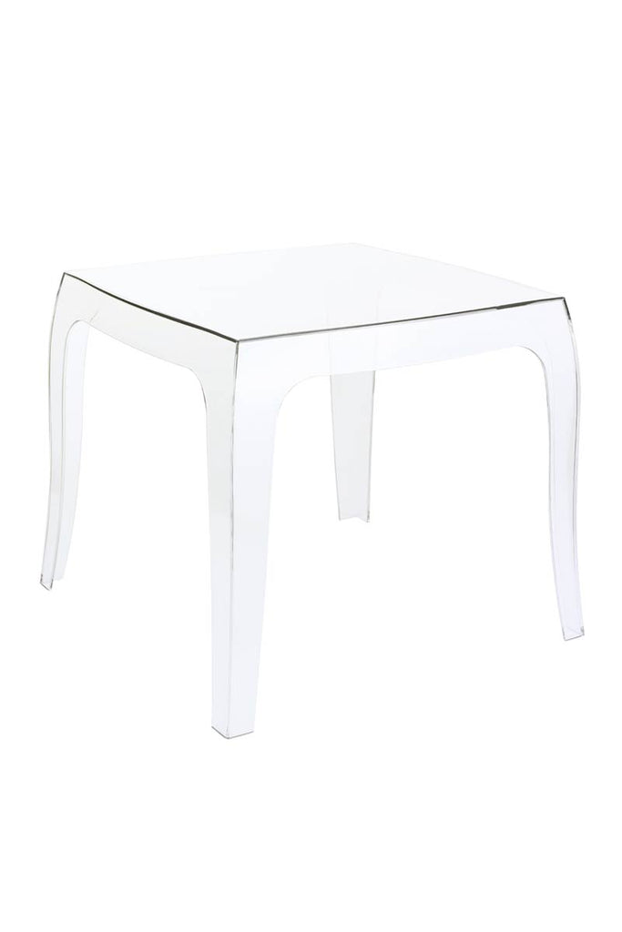 Outdoor Side Table Square, Patio/ Garden Table, Stackable Stool, Weather Resistant Outdoor Dining Table  (Queen, Crystal)