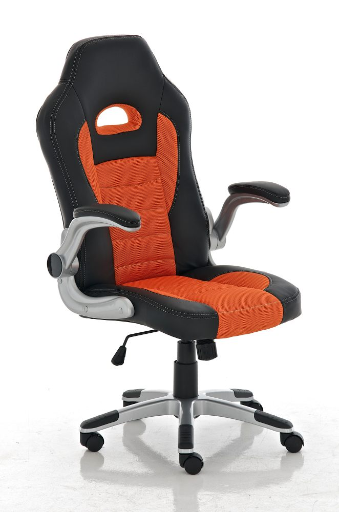 Desk Chair, Computer Chair Executive Office Chairs Padded Leather Mesh Moveable Arms (Orange Black)