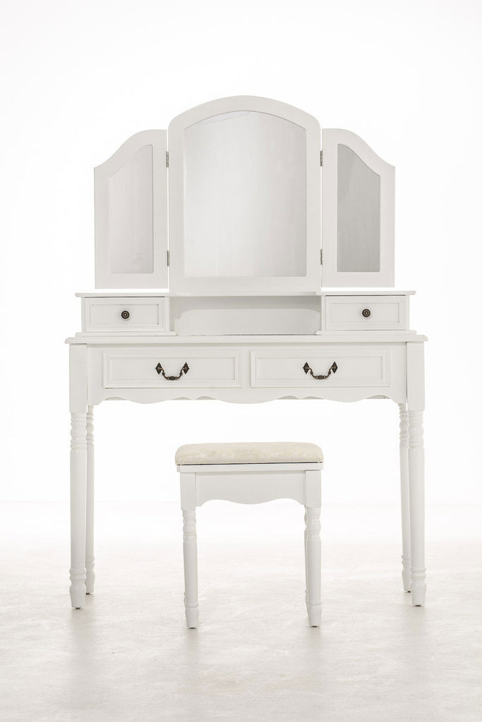 Dressing Table, Vanity Table & Stool, Classic Design Romantic Makeup Storage Stand, Drawer Chest, Cushioned Stool & Dressing Tables