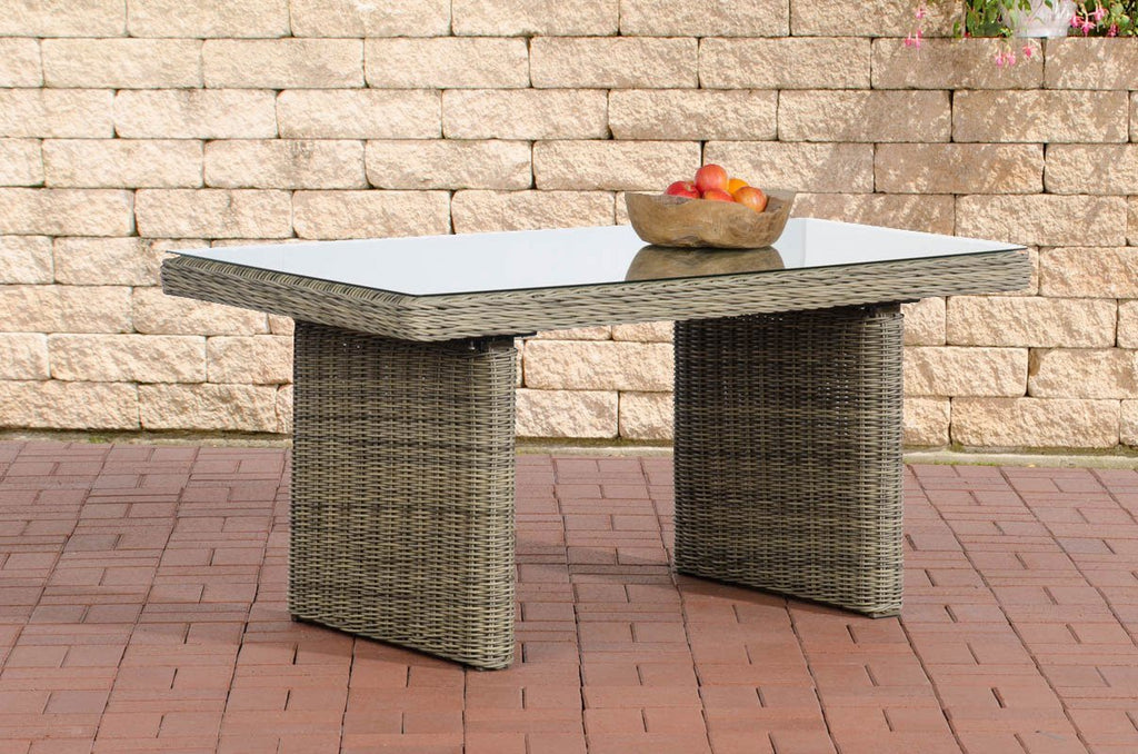 Dining Table for Patio Lawn Garden, Poly Rattan Wicker Dining Table with Glass Top, Outdoor Lawn Sofa Couch Table