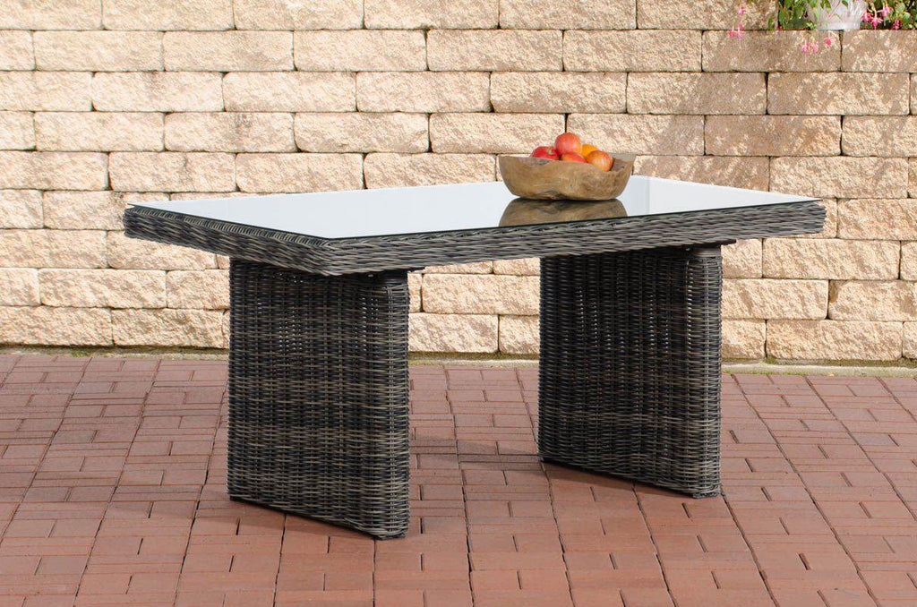Dining Table Poly Rattan, Patio / Garden Table, Outdoor / Lawn Sofa Couch Table Wicker with Thick Glass Plate, Patio Furniture/ Rattan Dining Table-Tradecentral LTD