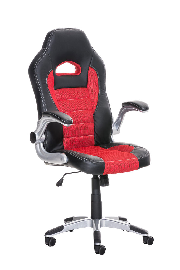 Swivel Chair, Gaming Chairs Executive Office Chairs Padded Leather Mesh Moveable Arms (Red-Black)