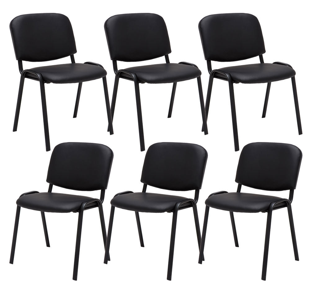 Set of 6 visitor guest and reception chairs stackable leather black metal frame