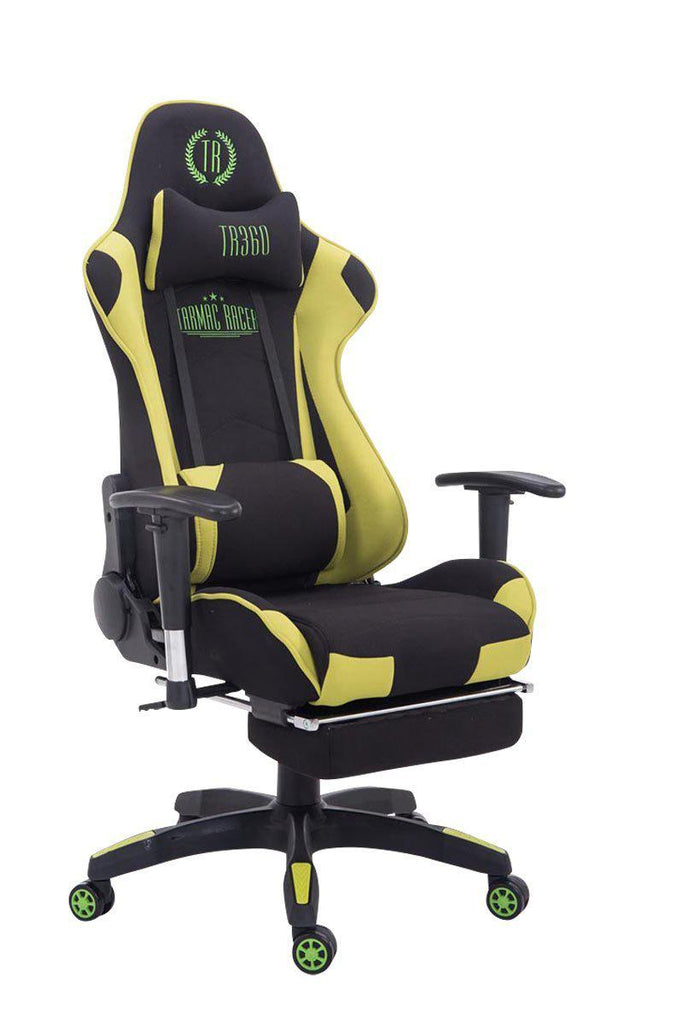 Office Chairs Swivel Chair Fabric with Footrest heavy Duty like Gaming Racing Chairs Yellow Black 360 XL-Tradecentral LTD