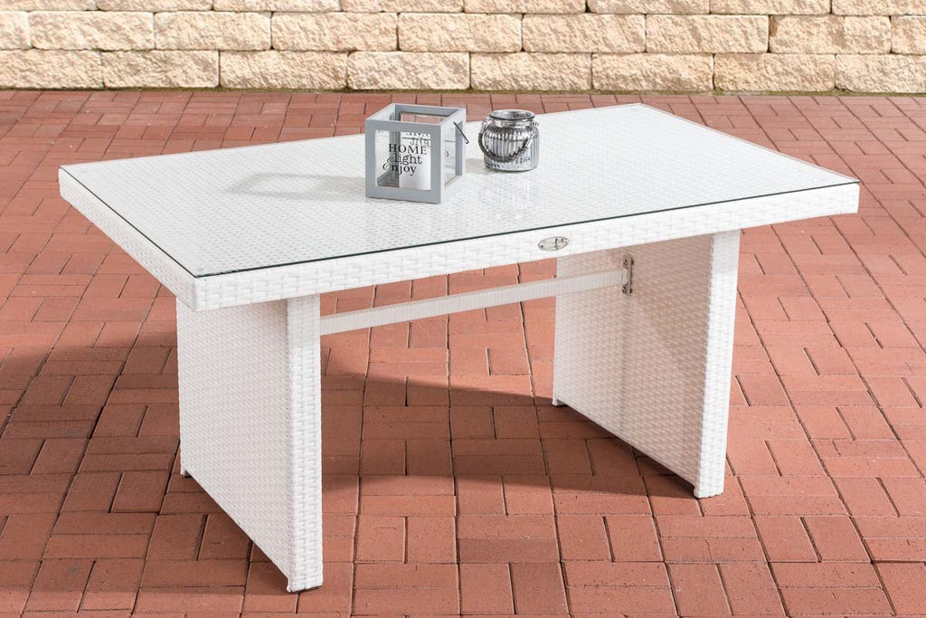 Rattan Dining Table, Patio/Garden Table, Sofa Couch Table Wicker with Thick Glass Plate, (White) Patio Furniture/ Lawn Dining Table