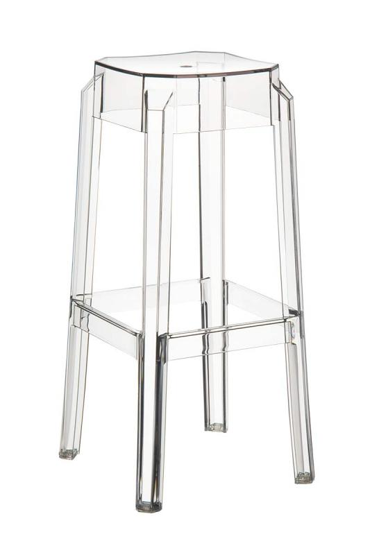 Set of 2 kitchen counter bar stools with square seat transparent stackable