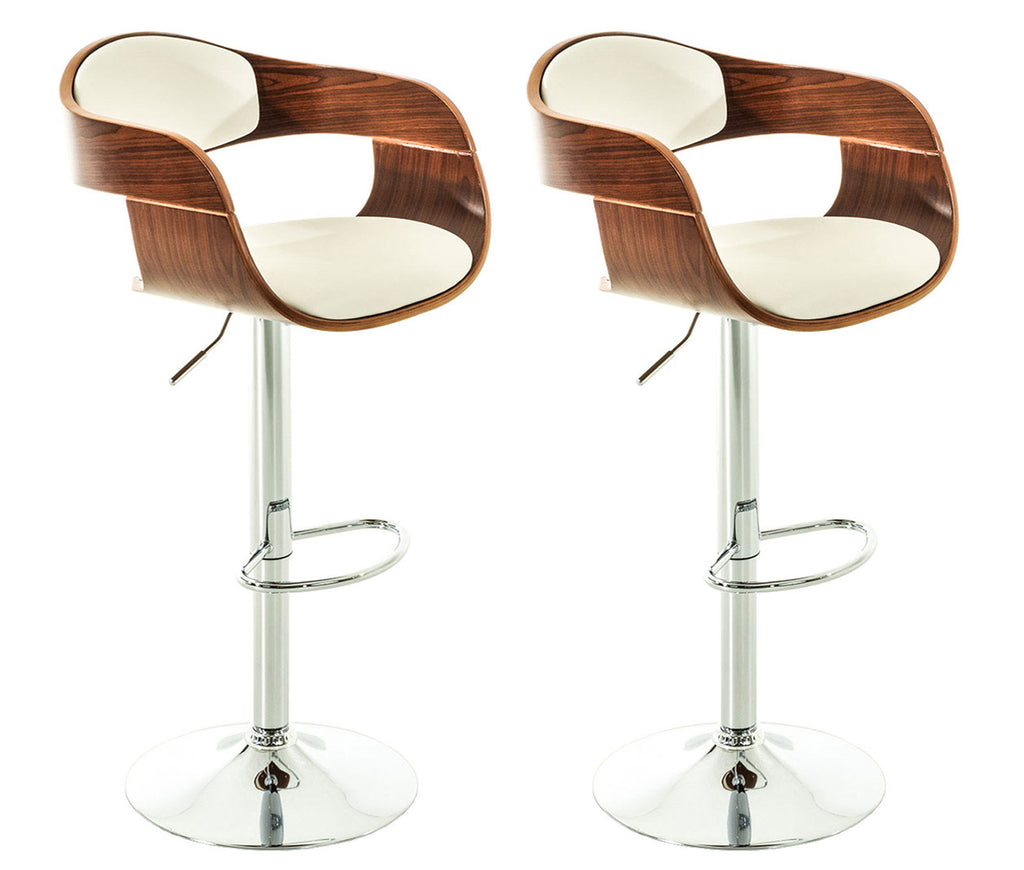 Set of 2 modern cafe kitchen breakfast counter bar stools with white leather