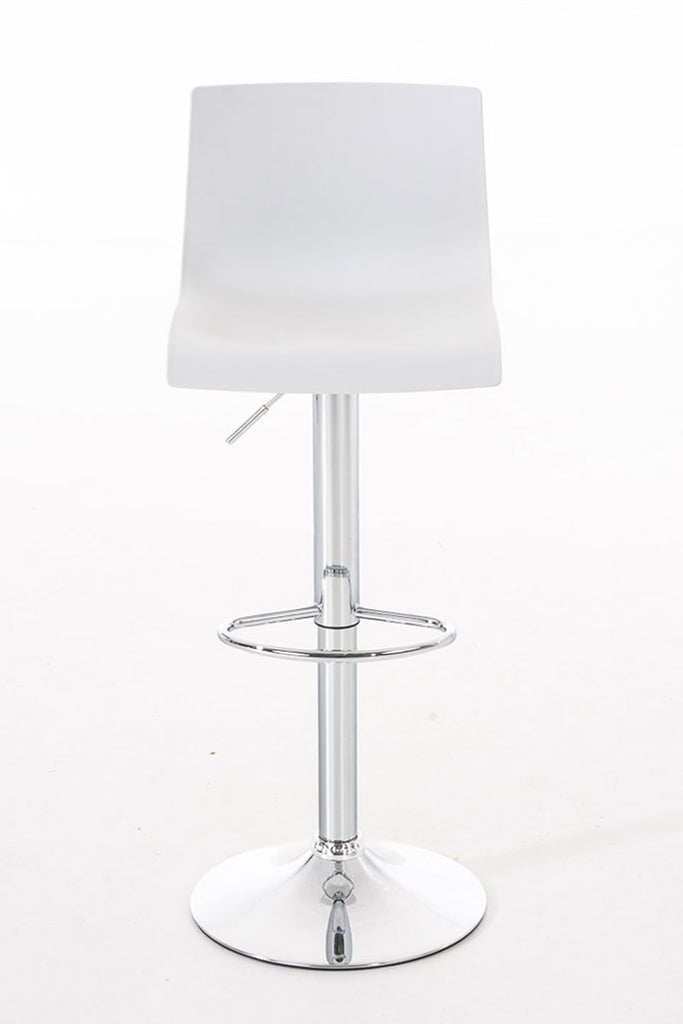 Set of 2 breakfast bar stools swivel chrome footrest white
