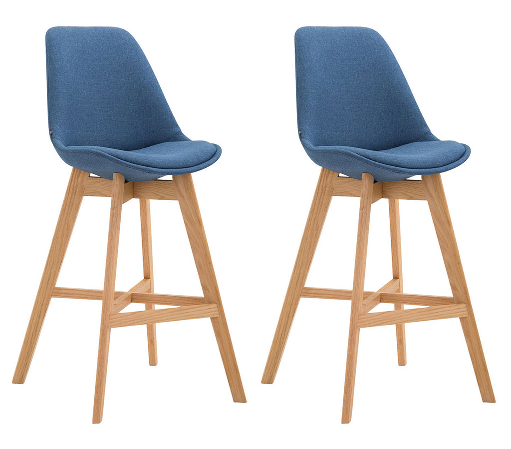 Set of 2 bar counter stools dining chair oak wooden fabric blue