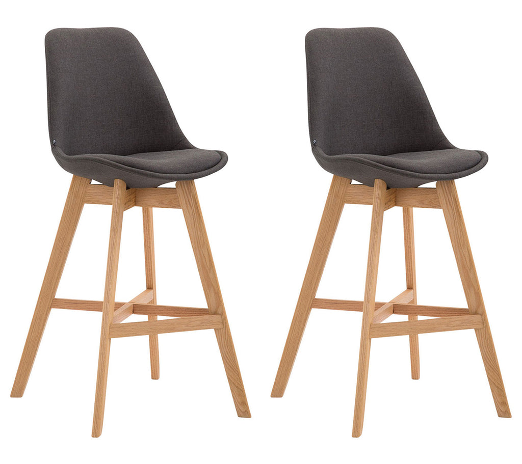 Set of 2 wooden kitchen counter height barstools fabric black