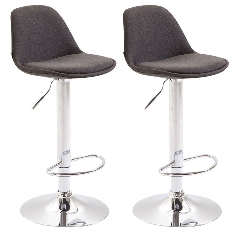 Set of 2 barstools counter kitchen height stools swivel fabric black chrome footrest