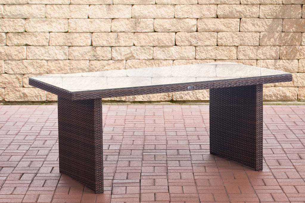 Poly Rattan Patio / Garden Table, Outdoor Dining Table, Lawn Wicker Sofa Couch Table with Thick Glass Plate, Outdoor / Patio Furniture 180cm
