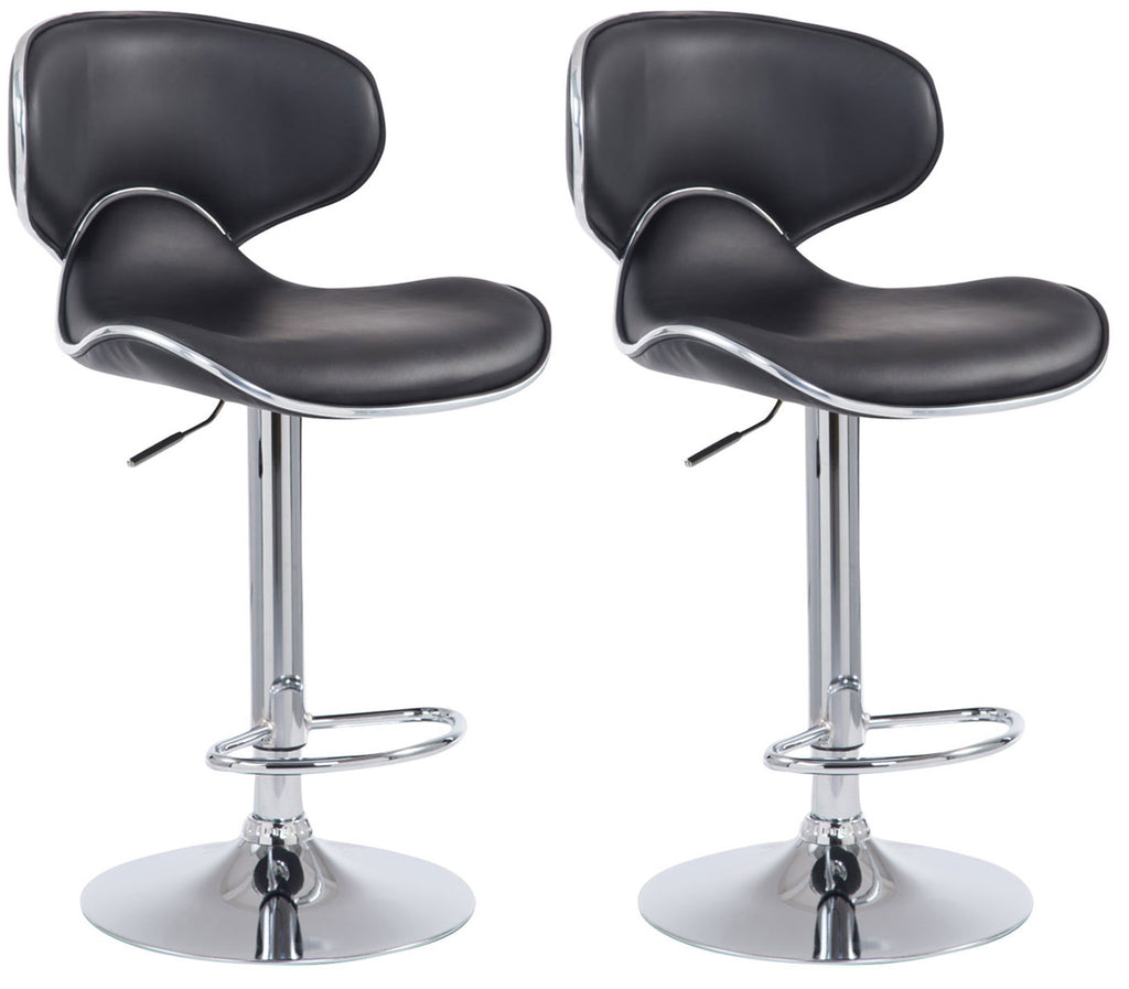 Set of 2 adjustable kitchen dining and cafe bar stools with black leather chrome footrest