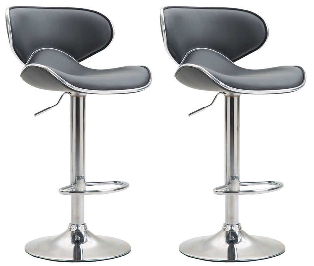 Set of 2 counter height swivel bar stools in black leather and chrome footrest