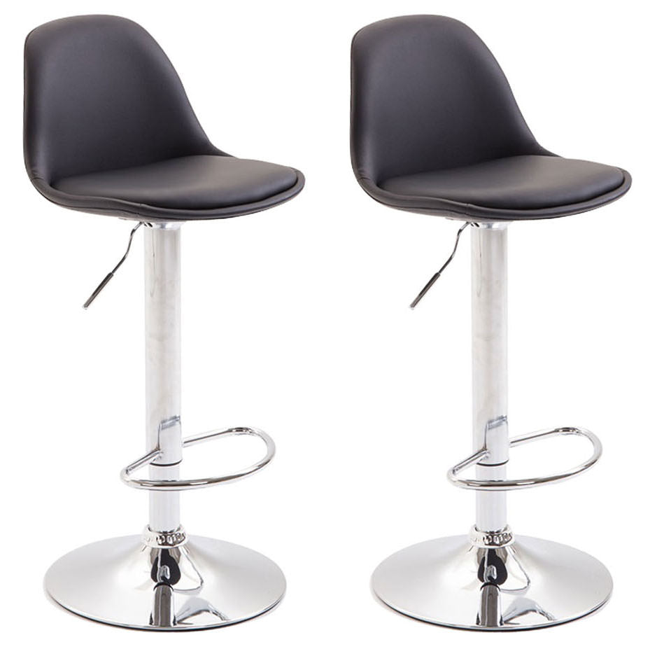 Set of 2 bar stools counter kitchen breakfast height stools swivel chrome footrest leather black