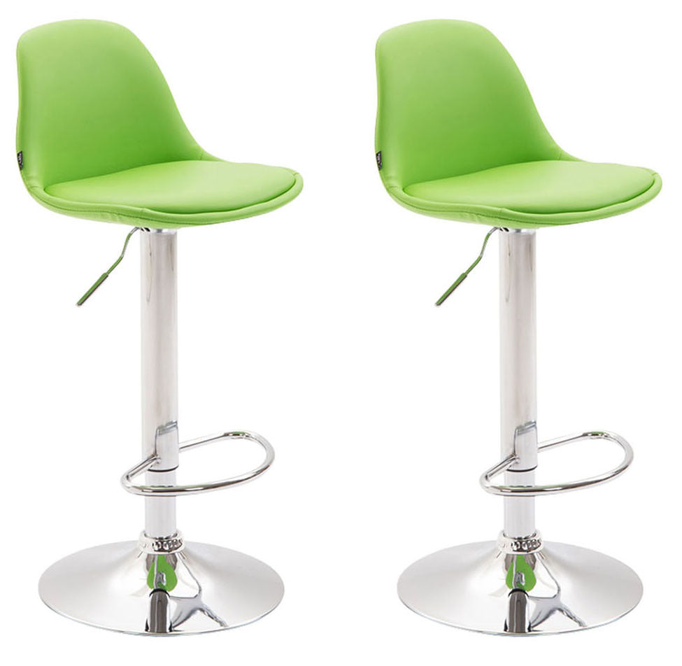 Set of 2 modern breakfast kitchen counter height barstools swivel leather light green chrome footrest