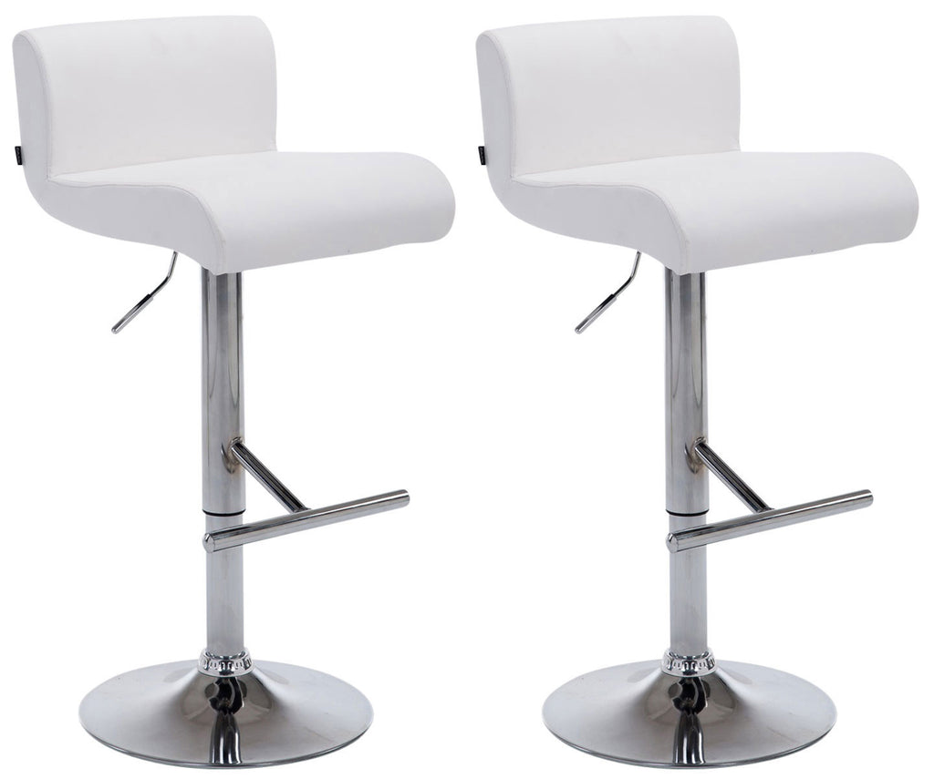 Set of 2 dining Swivel adjustable padded barstools white