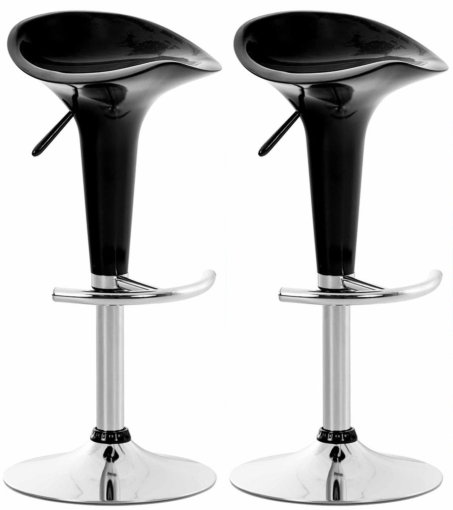 Set of 2 modern counter height swivel bar stools in black  chrome footrest
