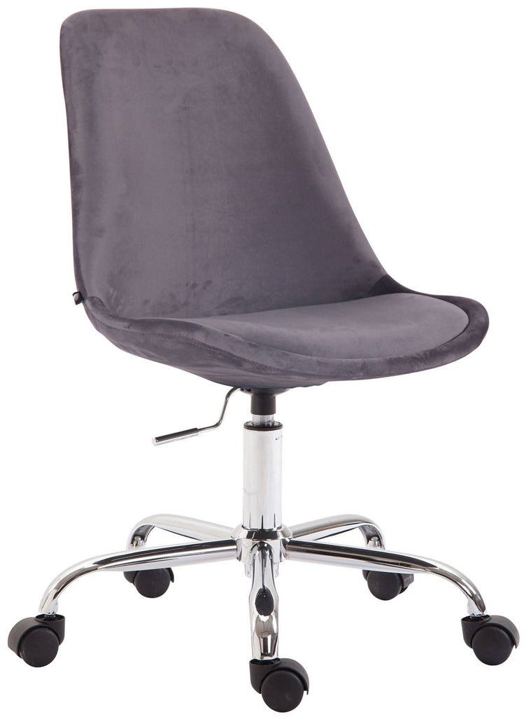 Velvet Office Chair, Swivel Computer Desk Chair, Adjustable Height/Smooth Casters, Stylish Home Office Furniture (Gray), Office Chairs-Tradecentral LTD