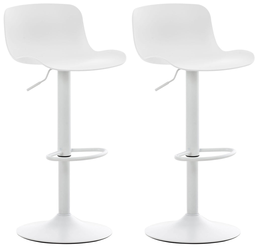 Set of 2 modern bar stools kitchen breakfast dining counter stool white