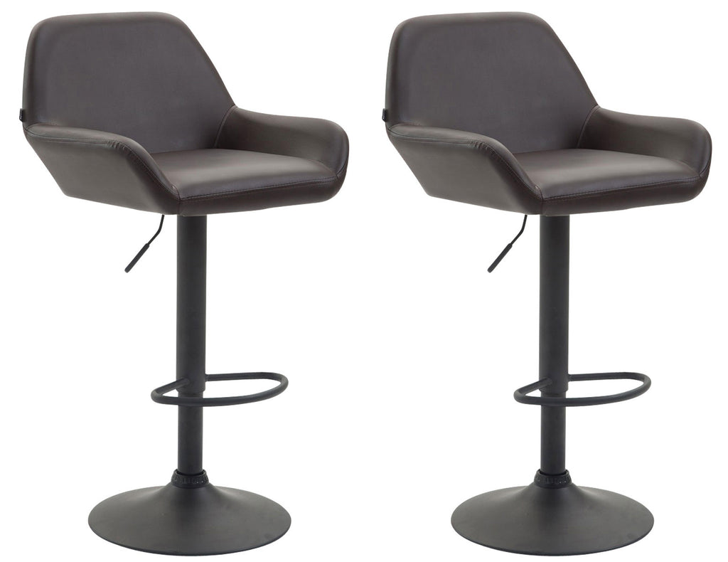 Set of 2 dining breakfast kitchen counter bar stools swivel black leather