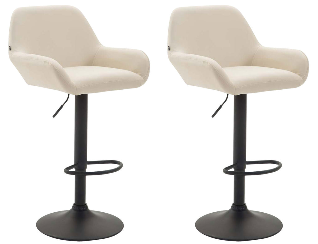 Set of 2 kitchen breakfast bar stools adjustable leather counter stools white