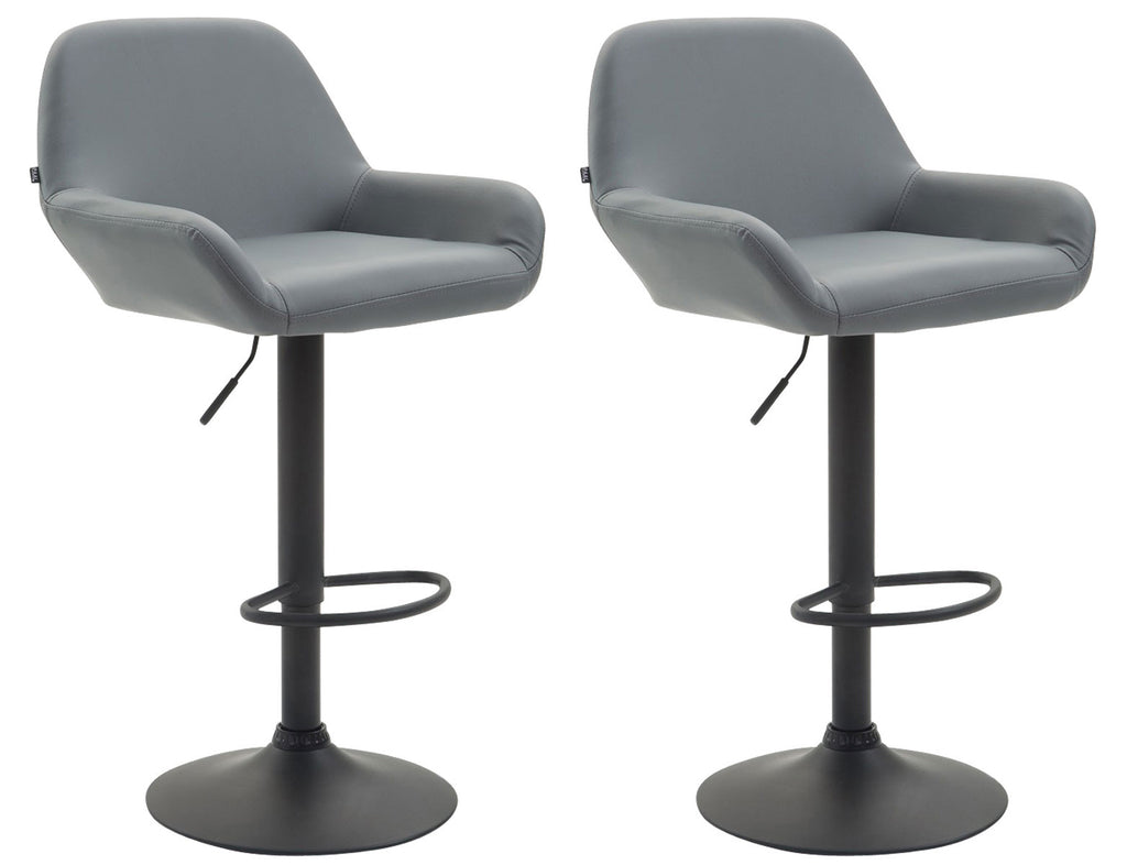 modern barstool set of 2 barstools height adjustable counter swivel leather bar chairs grey