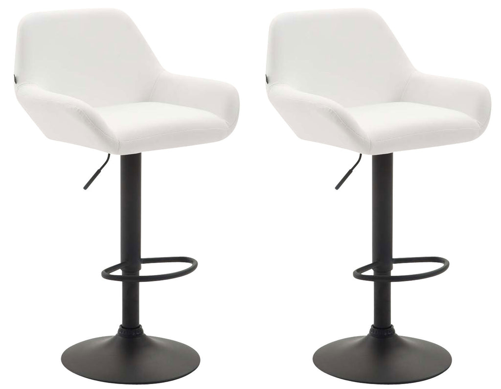 Set of 2 counter height swivel barstools white leather armed chair