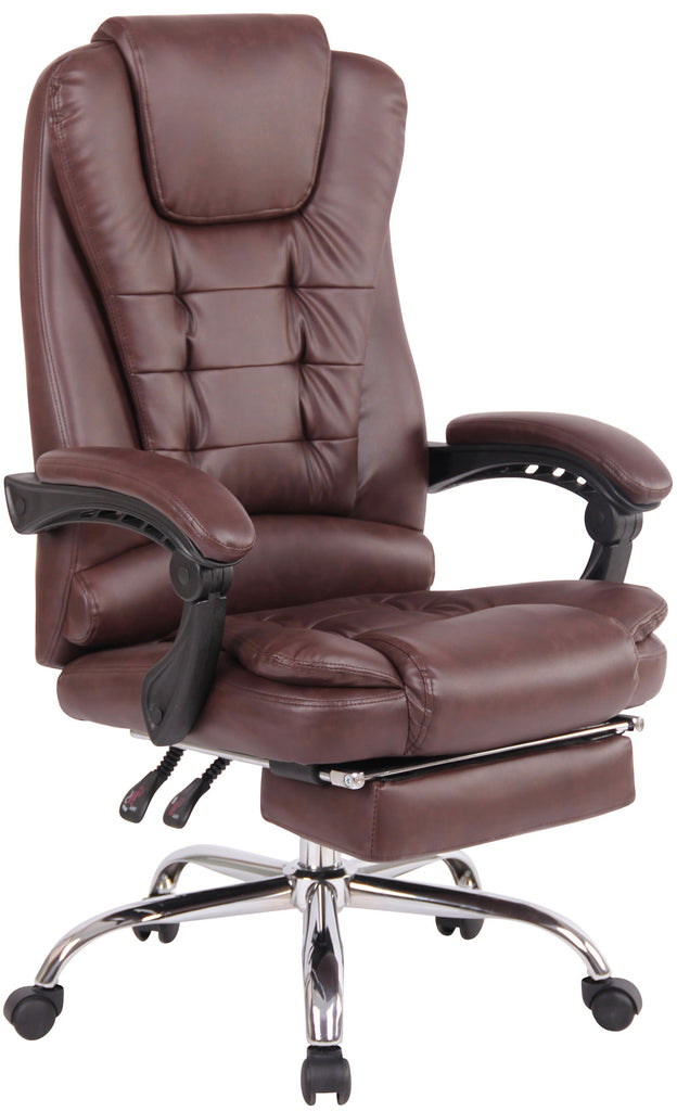 Office Chair Executive | Swivel Padded Chair with footrest leather, bordeaux Brown