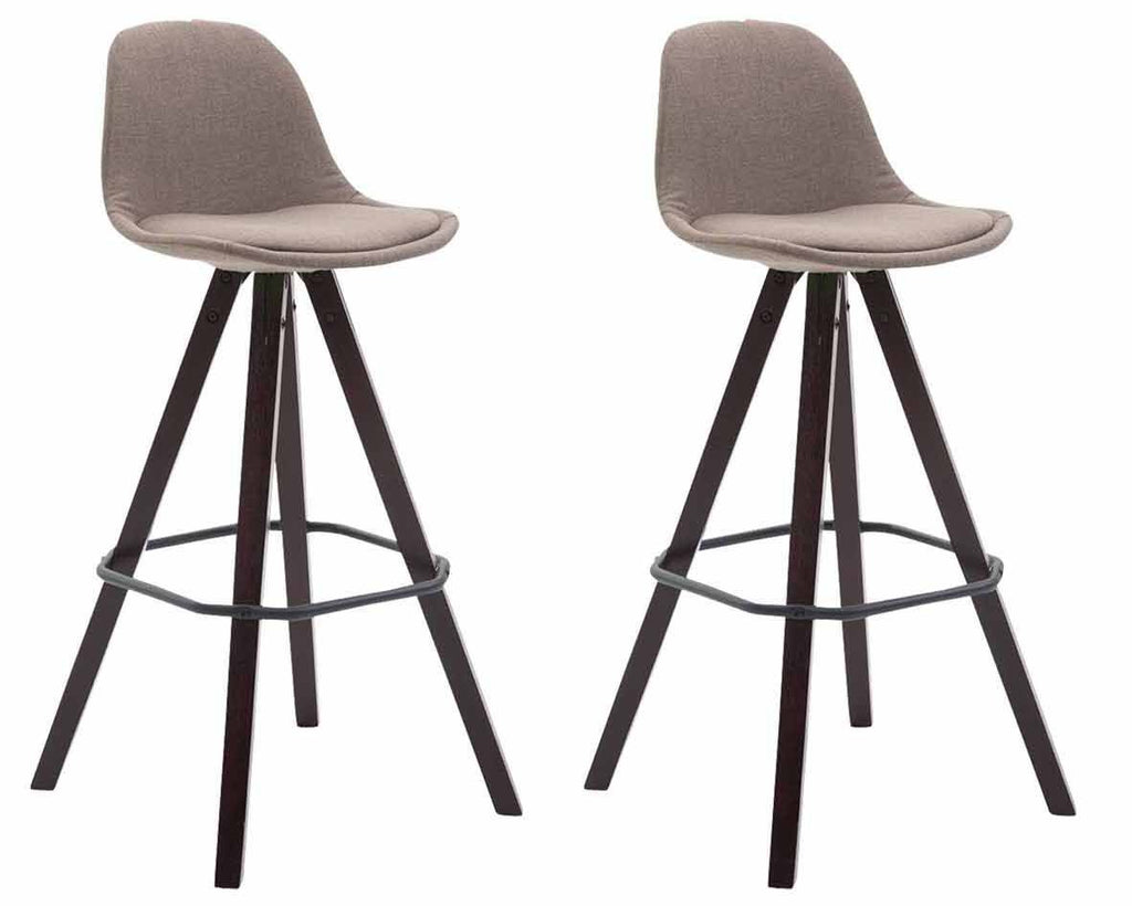 Bar Stools Comfortable Height Seat, Wooden Legs Studio Bar Chair Kitchen Counter Stool X 2