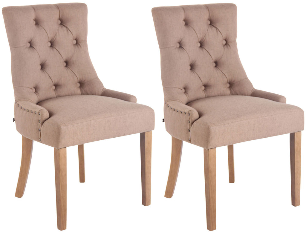Set of 2 modern luxurious dining kitchen chairs wooden fabric
