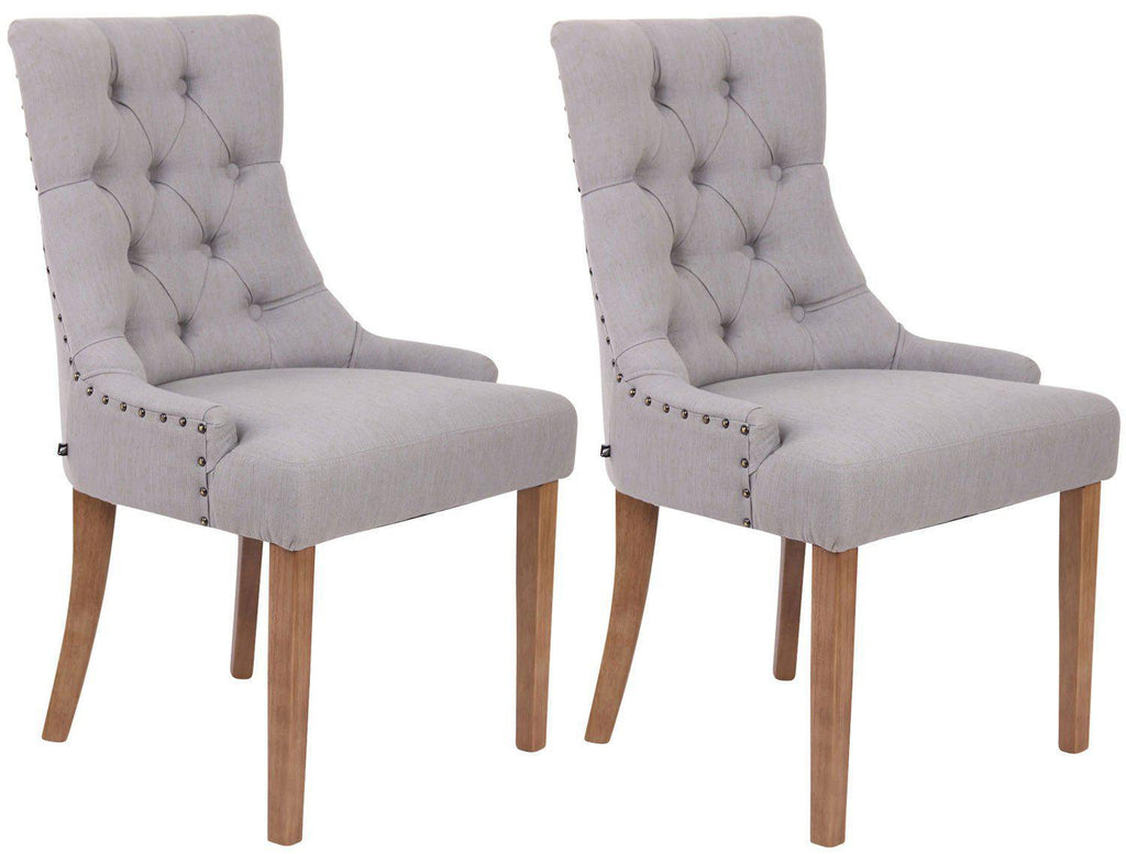 Dining Room Chairs, Dining Chairs (Antique Light) Livingroom/ Guestroom/ Bedroom Fabric Kitchen Chairs, Elegant Dining Furniture Wooden/ Dining Chairs X 2-Tradecentral LTD