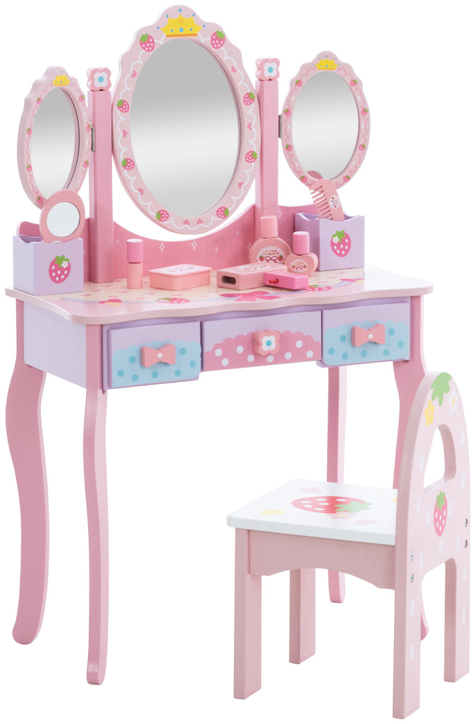 Children's Kids Girls dressing table Chair Set Home Decoration , wooden, pink