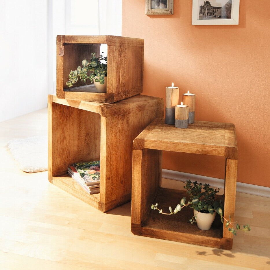 """Flamed"" shelf cubes, set of 3 cube storage floor shelves"