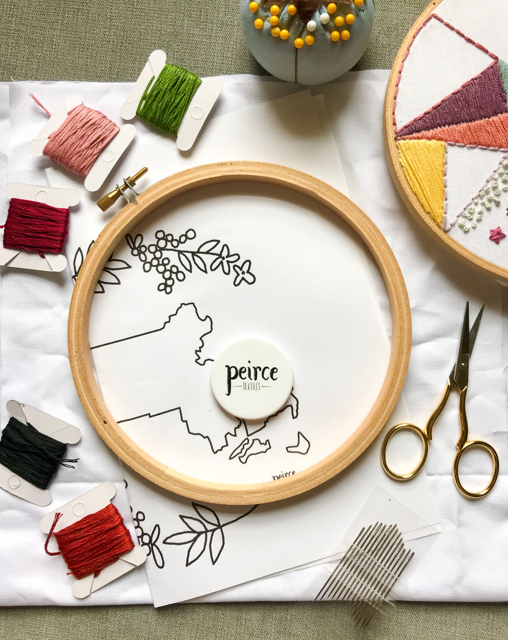Embroidery kit with embroidery hoop, pattern, embroidery floss of varying colors, and embroidery needles